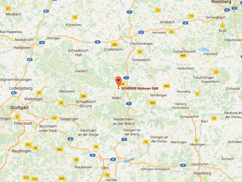 SCHERER Motoren GbR - Standort auf Karte mit Link zu Google Maps